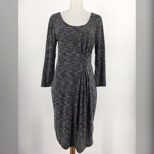 New Old Navy Dress Pleated Ruched Long Sleeve Gray
